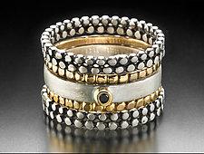 Nod Stacking Rings by Linda Bernasconi (Gold, Silver & Stone Rings)