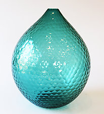 Blue Battuto Vase by Nanda Soderberg (Art Glass Vase)