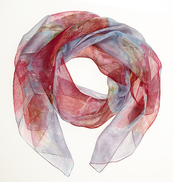 Floral Organza Scarf in Red Sweet Pea