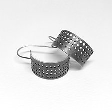 Small Perforated Hoop Earrings by Jane Pellicciotto (Silver Earrings)