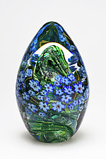 Forget-Me-Nots Egg Paperweight by Shawn Messenger (Art Glass Paperweight)