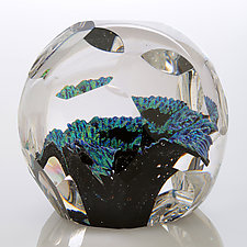 Marine Fractal Paperweight by Benjamin Silver (Art Glass Paperweight)