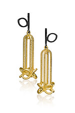 Gold Bell Blossom by Giselle Kolb (Silver & Steel Earrings)