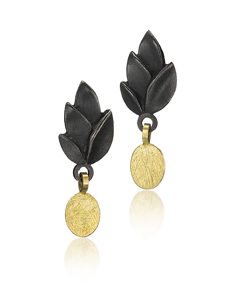 Black Leaves Earring with Gold Drop