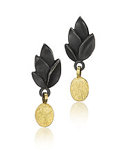 Black Leaves Earring with Gold Drop by Giselle Kolb (Gold & Silver Earrings)