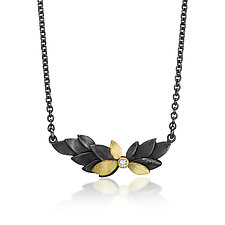 Leaves Necklace by Giselle Kolb (Gold, Silver & Stone Necklace)