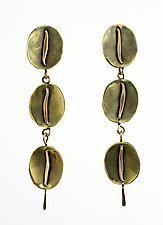 Small Circles with Hammered Wire on Post by John Siever (Bronze Earrings)