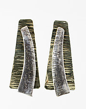 Half Trapezoid on Hammered Bronze Trapezoid by John Siever (Silver & Bronze Earrings)
