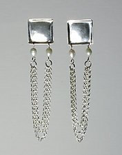Squares with Pearls and Chain by John Siever (Silver & Pearl Earrings)