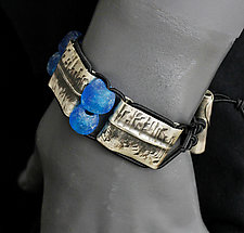 Oxidized Rectangles with Blue Beads by John Siever (Silver & Glass Bracelet)
