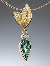 Tourmaline Pendant with Diamond by Conni Mainne (Gold & Stone Necklace)
