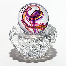 Marble in Violet Pink Sunshine on  Twisted Dish by Michael Trimpol and Monique LaJeunesse (Art Glass Paperweight)