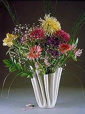 """Elegant Folded Porcelain Vase"" by Carol Barclay (Ceramic Vase)"