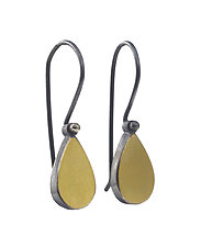 22k and Silver Teardrop Earrings by Elisa Bongfeldt (Gold & Silver Earrings)