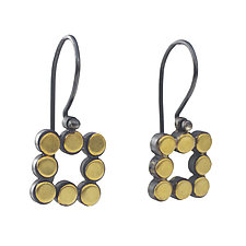 22k Square Dot Earrings by Elisa Bongfeldt (Gold & Silver Earrings)