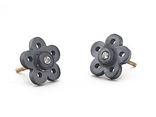 Silver & Diamond Flower Posts by Elisa Bongfeldt (Silver & Stone Earrings)
