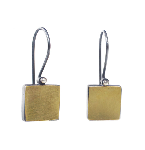 22k and Sterling Square Earrings