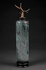 Grana Mali Zeleno: Green Tall Cylinder by Eric Bladholm (Art Glass Vessel)