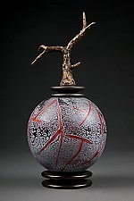 Grana Mali Crveno: Red Sphere by Eric Bladholm (Art Glass Vessel)