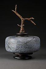 Grana Mali Maslina Zeleno: Olive Green Short Cylinder by Eric Bladholm (Art Glass Vessel)