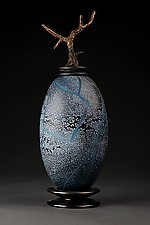 Grana Mali Plavo: Blue Elongated Sphere by Eric Bladholm (Art Glass Vessel)