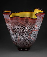 Fissure Vessel, Brilliant Peach with Gold Interior by Eric Bladholm (Art Glass Bowl)