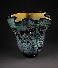Fissure Vessel, Brilliant Emerald with Gold Interior by Eric Bladholm (Art Glass Bowl)