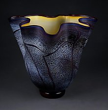 Fissure Vessel, Royal Amythest with Gold Topaz Interior by Eric Bladholm (Art Glass Bowl)