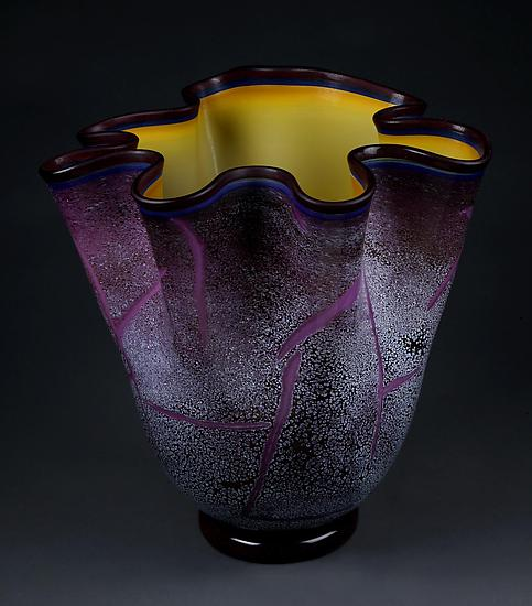 Fissure Vessel, Regal Violet with Gold Topaz Interior