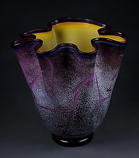 Fissure Vessel, Regal Violet with Gold Topaz Interior by Eric Bladholm (Art Glass Bowl)