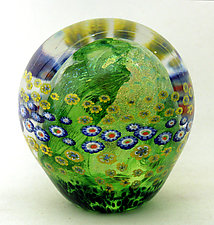 Moss Green Floral Paperweight by Ken Hanson and Ingrid Hanson (Art Glass Paperweight)