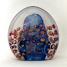 Aqua Floral Paperweight by Ken Hanson and Ingrid Hanson (Art Glass Paperweight)