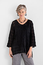 Textured V-Neck Tunic by Carol Turner  (Linen Tunic)