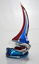 Sailboat Baby Red and Blue by Michael Richardson, Justin Tarducci and Tim Underwood (Art Glass Paperweight)
