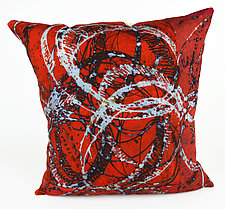 Red Swirl 1 Pillow by Ayn Hanna (Cotton & Linen Pillow)