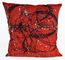 Red Swirl 2 Pillow by Ayn Hanna (Cotton & Linen Pillow)
