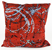 Red Swirl 3 Pillow by Ayn Hanna (Cotton & Linen Pillow)