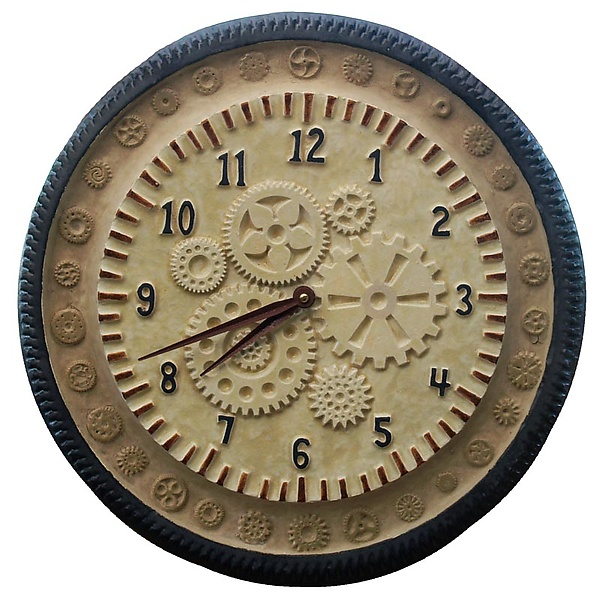 Gears Ceramic Wall Clock in Cream Stone and Steel
