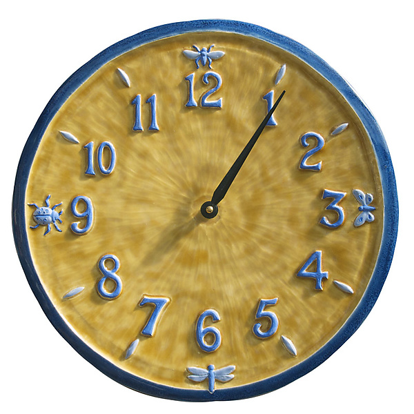 Little Wings Ceramic Wall Clock in Blue & Yellow
