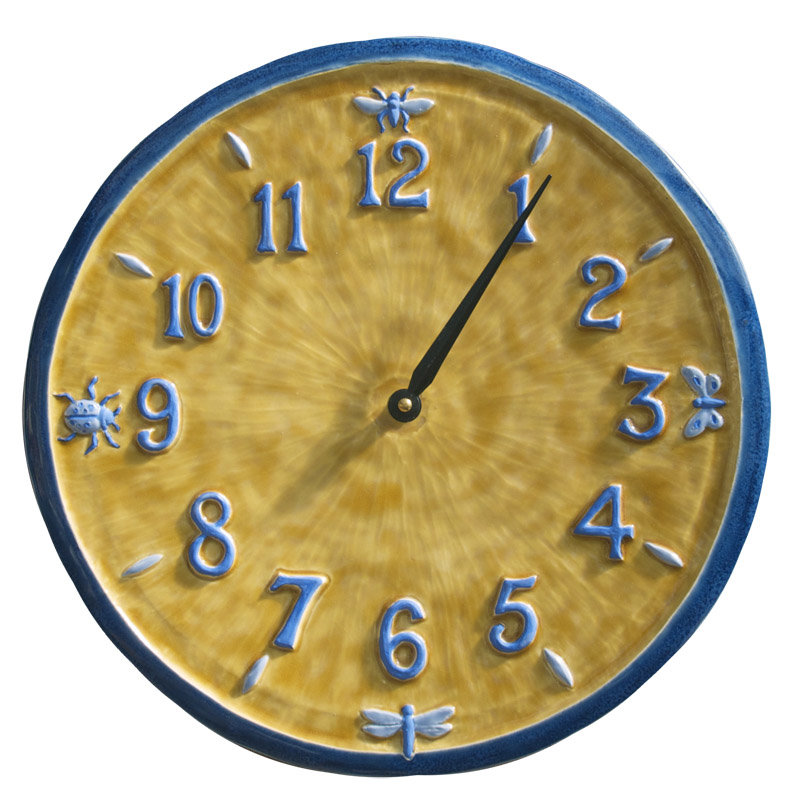 Little Wings Ceramic Wall Clock In Blue Amp Yellow By Beth
