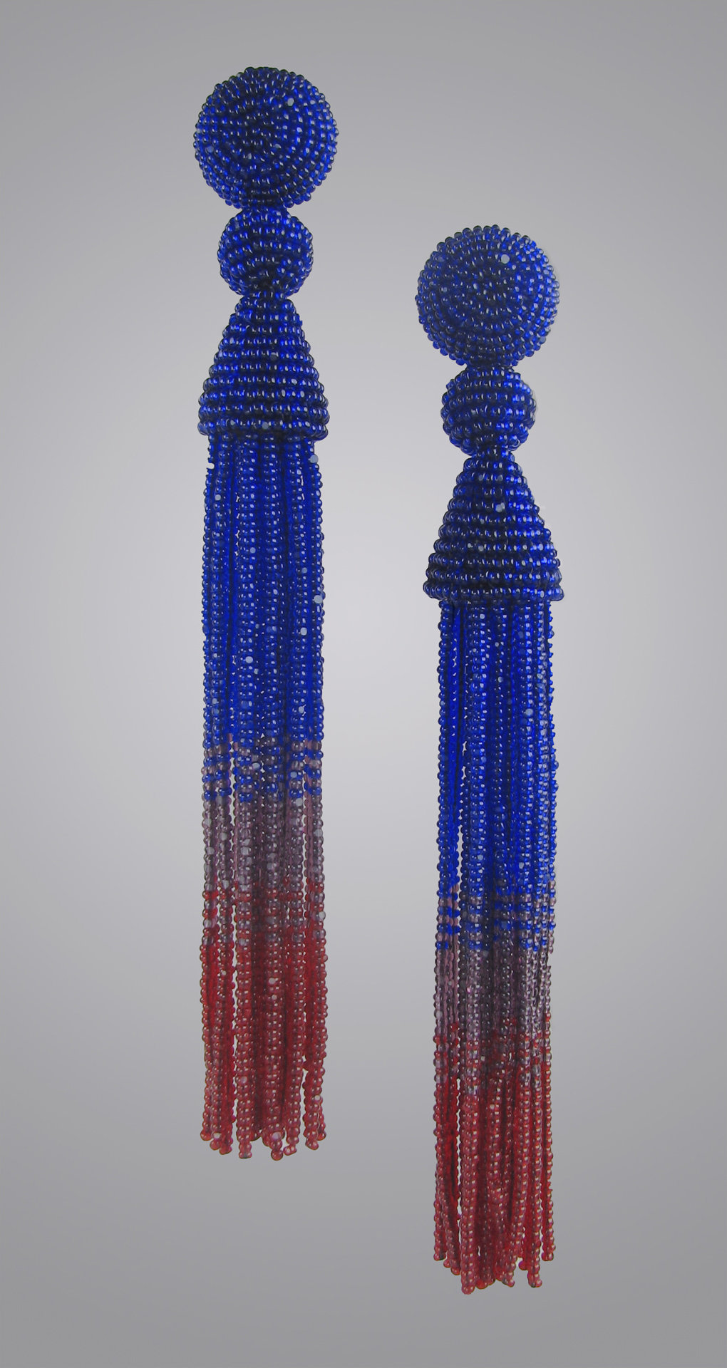 Cobalt and Ruby Red Beaded Tassel Earrings