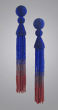 Cobalt and Ruby Red Beaded Tassel Earrings by Julie Long Gallegos (Beaded Earrings)