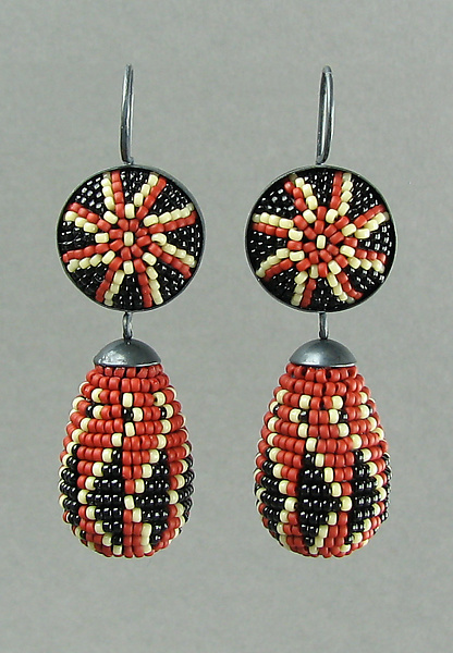 Brick Red Ukrainian Beaded Earrings