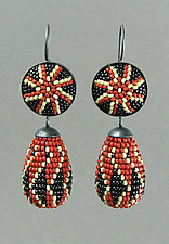 Brick Red Ukrainian Beaded Earrings by Julie Long Gallegos (Beaded Earrings)