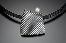 Polka Dot Pillow with Pearl by Tom McGurrin (Silver & Pearl Necklace)