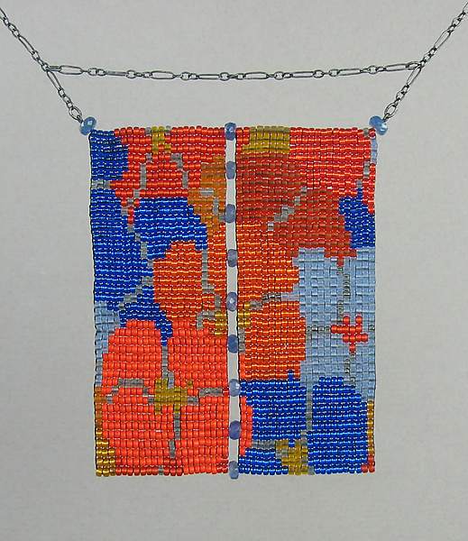 California Dream Beaded Necklace Orange and Blue with Sapphires
