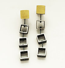 Tumbling Mini Squares by Ashka Dymel (Gold & Silver Earrings)