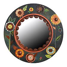 Floral Circle Mirror by Sticks  (Wood Mirror)