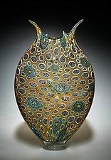 Gold & Emerald Foglio by David Patchen (Art Glass Vessel)