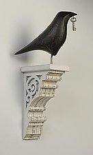 Raven on White Corbel by Mark Orr (Wood Wall Sculpture)